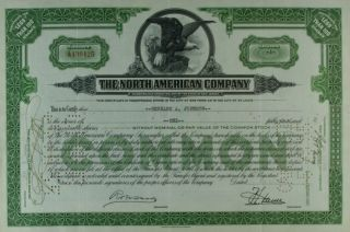 S725 North American Company 1930s Stock Certificate Green photo