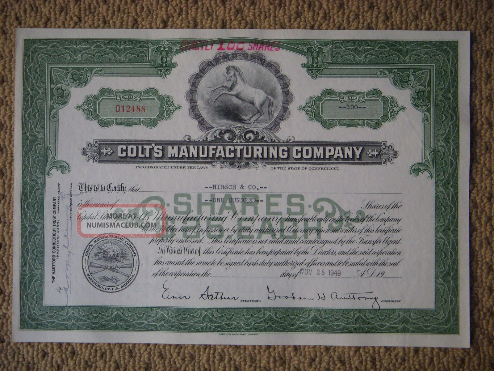Colt ' S Manufacturing Company Green Stock Certificate D12488 100 Shares From 1949 World photo
