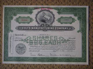 Colt ' S Manufacturing Company Green Stock Certificate D12488 100 Shares From 1949 photo