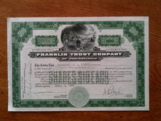 Franklin Trust Stock Certificate April 1929 Stamped & Embossed photo