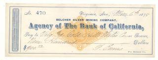 1878 Belcher Silver Mining Company,  Virginia,  Nv - Check 470 photo