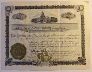 1917 Hamilton Coal Mining Co.  Stock Certificate Tarentum,  Pennsylvania Scarce 8 photo