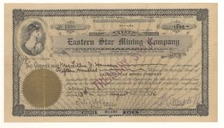 1914 Eastern Star Mining Company Stock Certificate 1098 photo