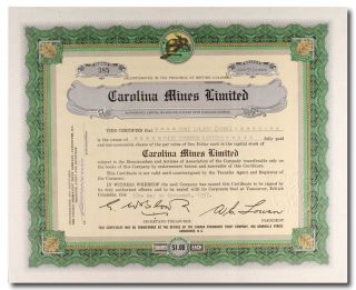 S388 Carolina Mines Limited 1957 Stock Certificate Green photo