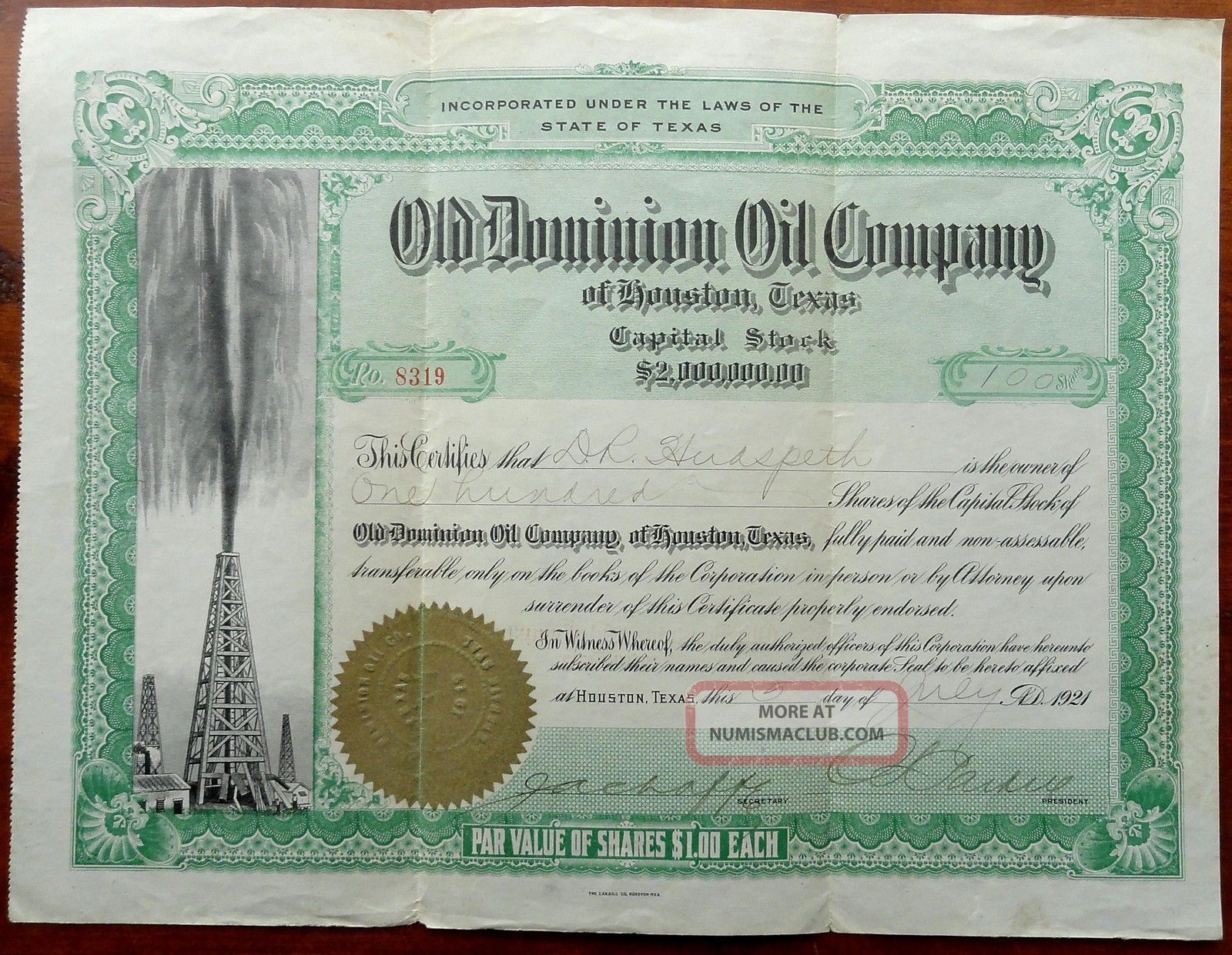 Vintage Old Dominion Oil Co Houston,  Texas Tex Stock Certificate 1921 Stocks & Bonds, Scripophily photo