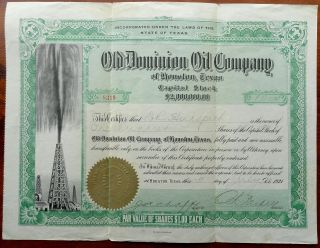 Vintage Old Dominion Oil Co Houston,  Texas Tex Stock Certificate 1921 photo