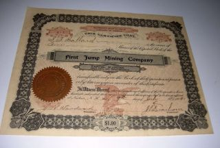 1908 First Jump Mining Company Arizona Territory Mining Stock Certificate photo