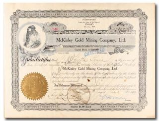 S249 Mckinley Gold Mining Company Stock Certificate Idaho Black & Gold photo