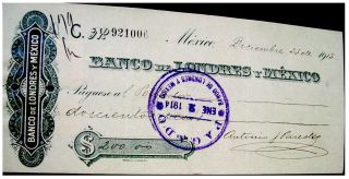 Mexico Mexican 1913 Uk London Banco Londres Y 200 Pesos Check Bill photo