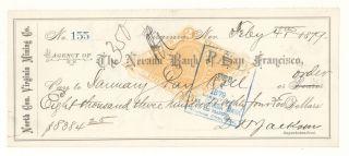 1879 North Con.  Virginia Mining Co. ,  Virginia,  Nevada - Check 155 photo