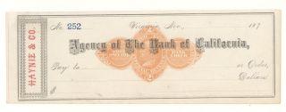 1870s Haynie & Co. ,  Virginia,  Nevada - Check photo