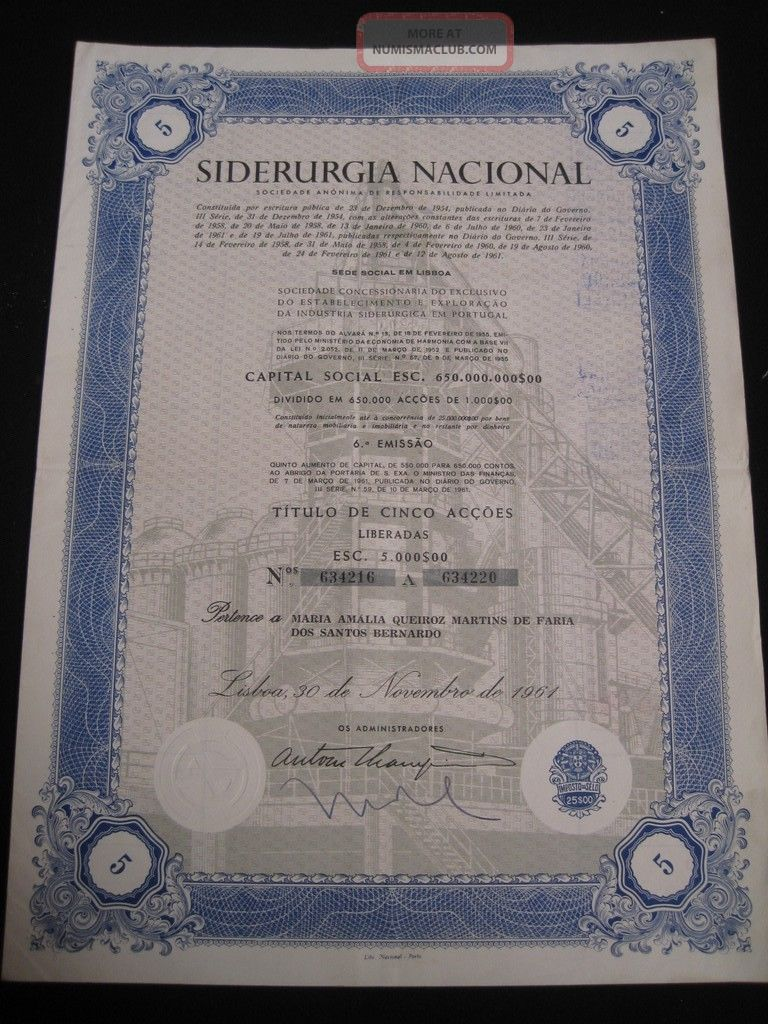 National Steel - Society Anonymous - Five Share Certified 1961 World photo