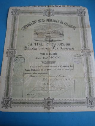 Water Company Of Medicinal Felgueira - Rare One Share - 1883 photo