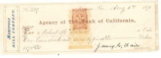 1870 Mariposa Mill Company - Check - To Robert Mclaren From James Fair photo