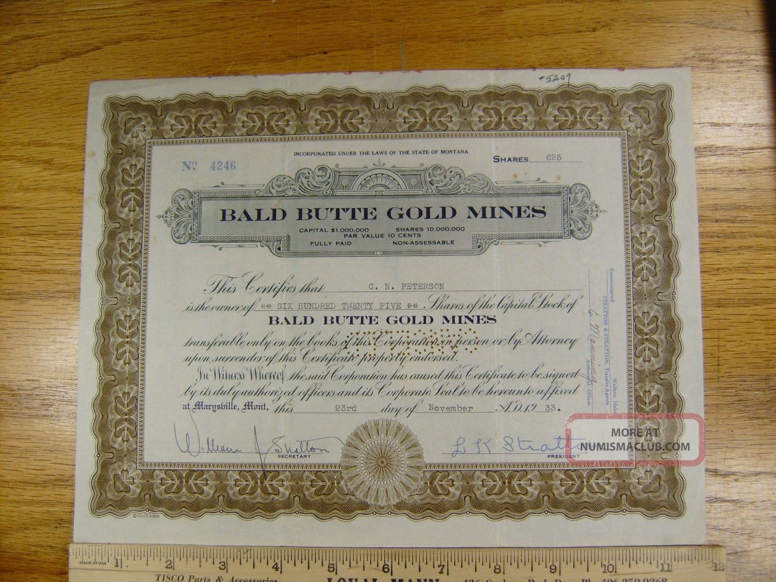 1933 Bald Butte Gold Mines Stock Certificate Marysville,  Montana Low Stocks & Bonds, Scripophily photo