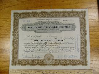 1933 Bald Butte Gold Mines Stock Certificate Marysville,  Montana Low photo