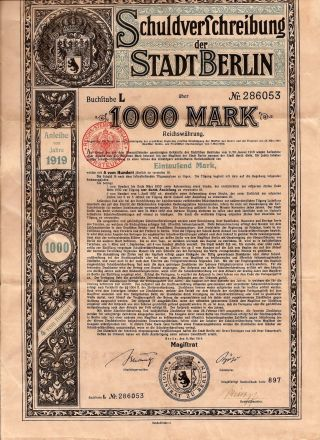 German Stadtberlin Bond 1000 Mark 1919 Issue W Coupons Schuldversschreibung photo
