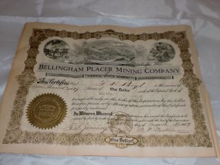 Antique Stock Certificate 1907 Mining photo
