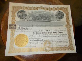 The Magnolia Gold And Copper Mining Company Stock No.  6 photo