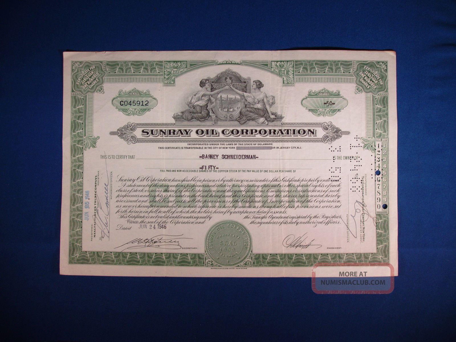 Sunray Oil Corporation Stock Certificate,  50 Share Certificate. Stocks & Bonds, Scripophily photo