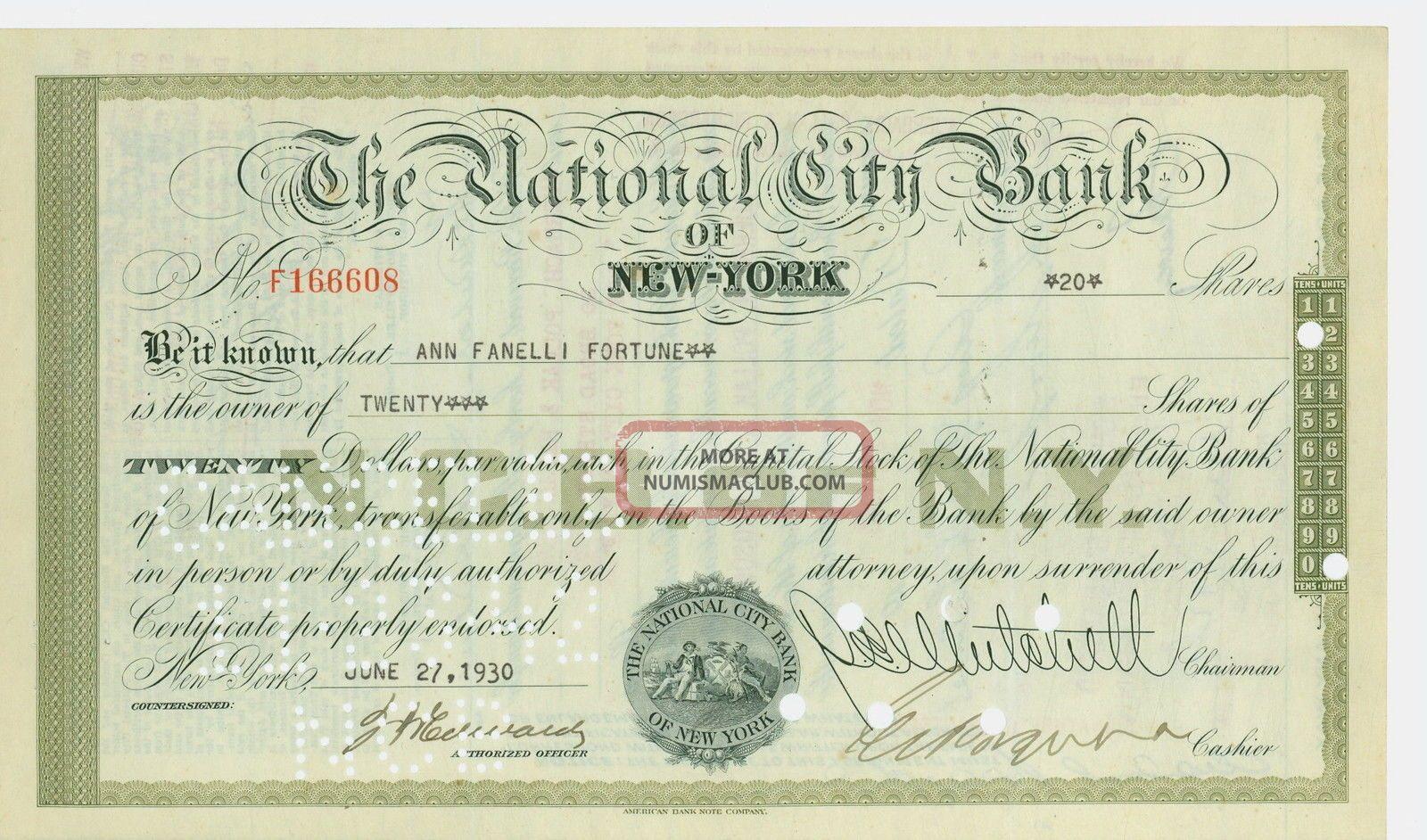 1930 Stock Certificate - The National City Bank Of York Stocks & Bonds, Scripophily photo