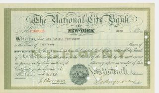 1930 Stock Certificate - The National City Bank Of York photo