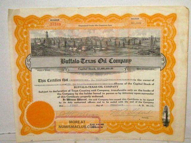 Buffalo - Texas Oil Co.  10,  000 Shares Stock Certificate 1924 Stocks & Bonds, Scripophily photo