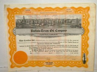 Buffalo - Texas Oil Co.  10,  000 Shares Stock Certificate 1924 photo