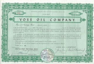 1959 Voss Oil Company Seattle Class B Common Shares Stock Certificate Deleware photo
