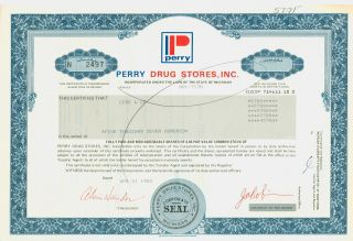 Stock Certificate - Perry Drug Stores,  Inc. photo