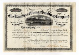 1880 The Lawrence Mining And Smelting Company Stock Certificate photo