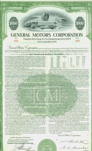 25 Year Debenturek Certificate - General Motors Corporation - Issued 1954 photo