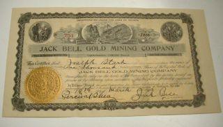 1908 Jack Bell Gold Mining Co Mining Stock Buckskin & Goldfield Nevada photo