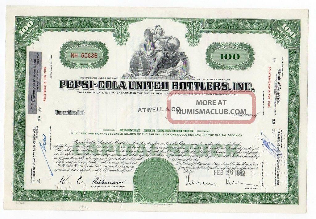 Pepsi - Cola United Bottlers,  Inc.  Stock Stocks & Bonds, Scripophily photo