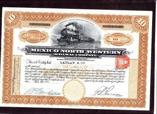 Mexico North Western Railway C.  Share Certificate 1910 photo