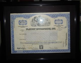 Framed 1990 Playboy Enterprises Class B Stock Certificate Hugh Hefner photo