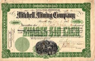 1906 Mitchell Mining Company Stock 100 Shares Prescott,  Arizona. photo