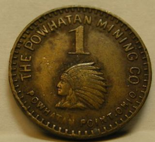 Powhatan Point,  Ohio.  Belmont Co.  Mining Company Scrip.  C.  1930.  Indian Head.  Nor photo