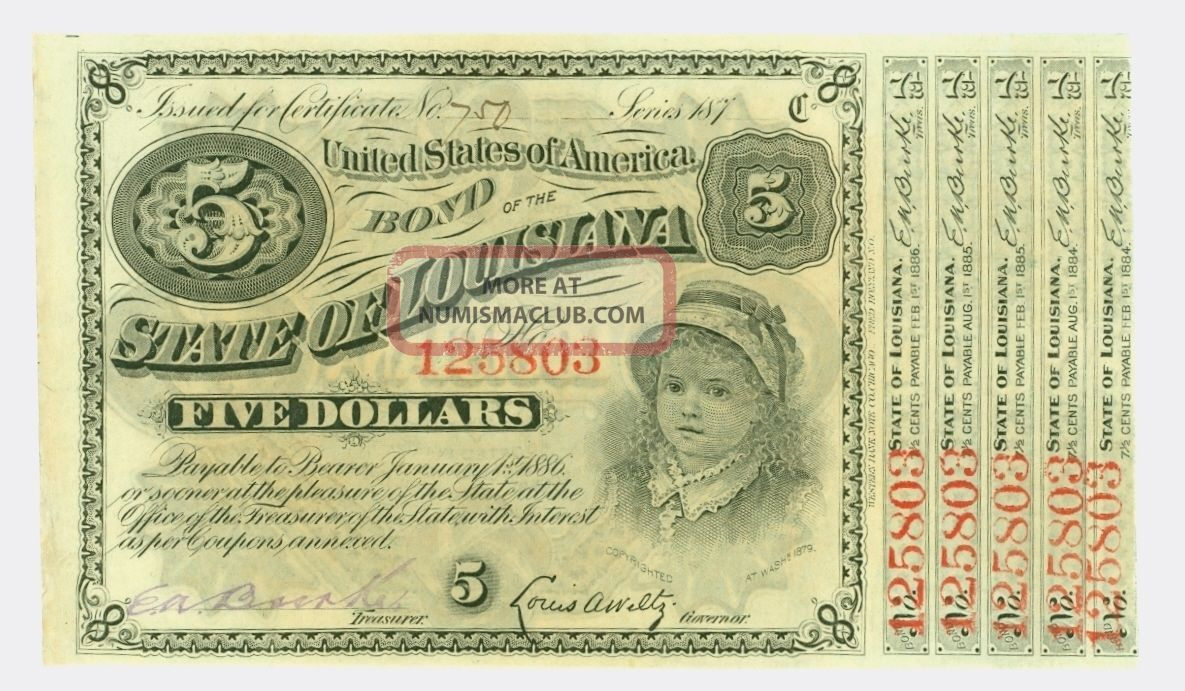 Old Bond Certificate - $5 United States Of America Bond - The State Of Louisana Stocks & Bonds, Scripophily photo