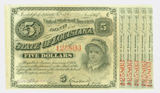 Old Bond Certificate - $5 United States Of America Bond - The State Of Louisana photo