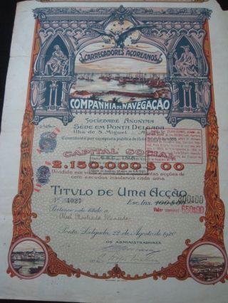 Carregadores Açoreanos Companhia De Navegação - One Share - 1920 Portugal photo