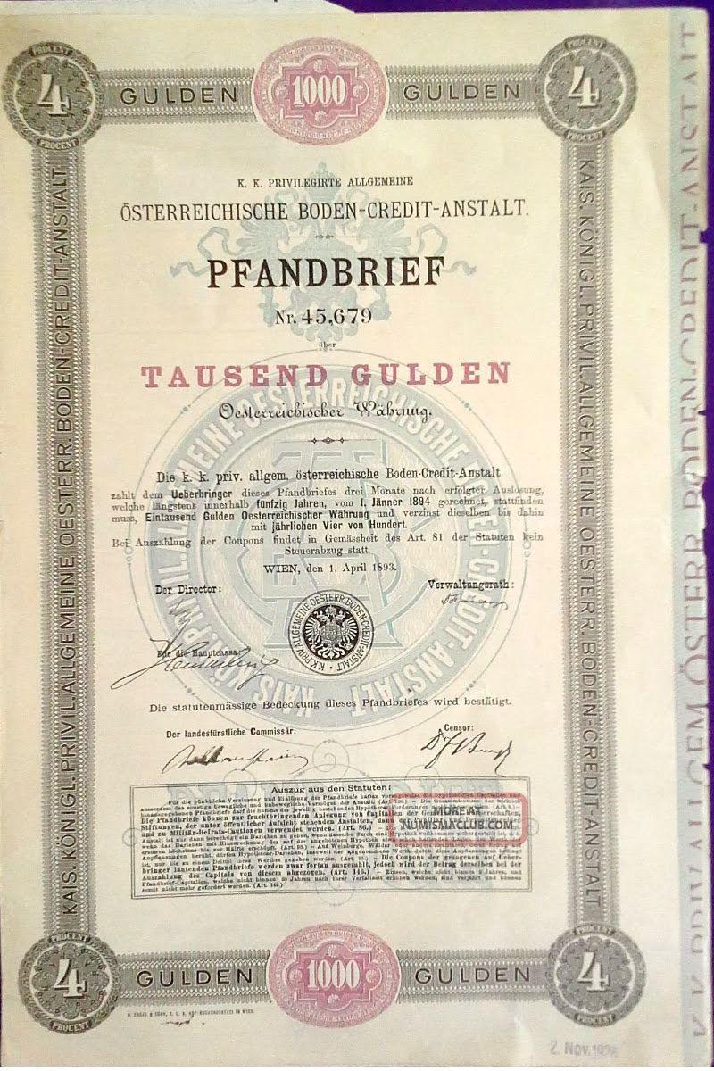 Austria Austrian 1893 Pfandrief Credit Anstalt 1000 Gulden State Bond Loan Stock World photo