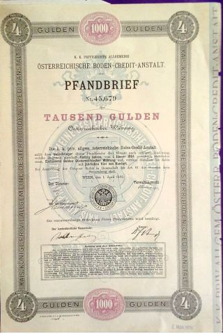 Austria Austrian 1893 Pfandrief Credit Anstalt 1000 Gulden State Bond Loan Stock photo