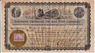 Southern California Oil And Fuel Company Stock Certificate,  1899 photo