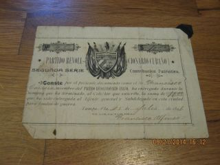 1896 Certificate For $10 Donation To Tampa Exile Group Against Spanish Rule photo