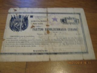 1895 Certificate For $2 Donation To Committee Of Tampa Treasury Against Spanish photo