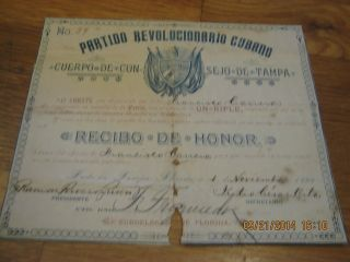 1896 Certificate From Exile Group In Usa For Rifle Donation Against Spanish Rule photo