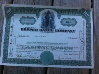 Vintage Mining Stock Copper Range Co.  1964 Michigan White Pine photo