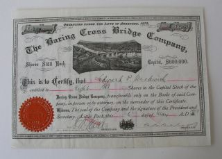 The Baring Cross Bridge Co Stock Cert.  1907 Railroad Train Paddlewheel Steamers photo