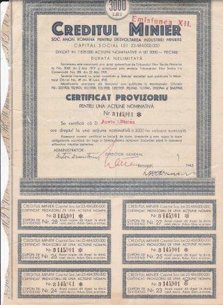 Rare Romania 1945 Mining Stock Bond No.  3145901 - Xii Issue - 3000 Lei photo